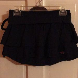 Ruffled navy mini skirt